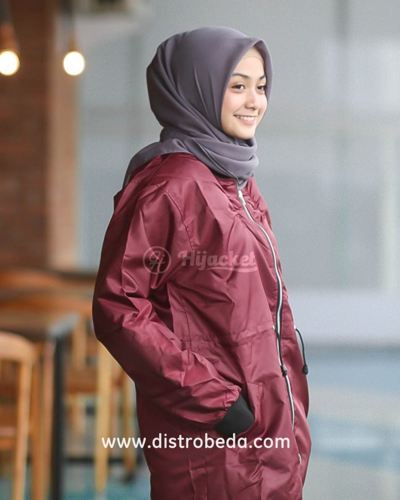 jaket bomber wanita murah merah maroon