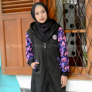 Jaket Muslimah Hijacket Camouflasion Black Purple