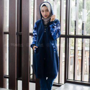 Jaket Muslimah Hijacket Camouflasion Royal Blue