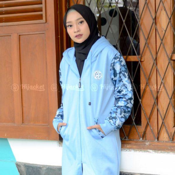 Jaket Muslimah Hijacket Camouflasion Sky Blue