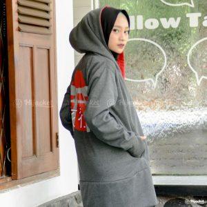 Jaket Muslimah Hijacket Japan Dark Grey