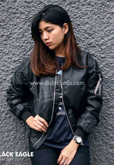 jaket bomber wanita murah hitam polos