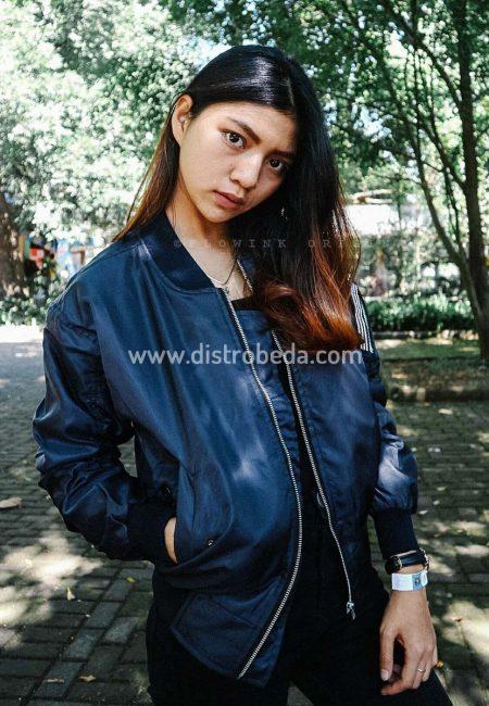 jaket bomber wanita biru fulcrum