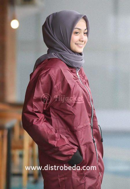 jaket hijab muslimah jaket bomber wanita maroon albatros